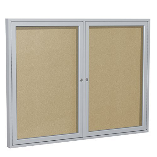 Ghent 36 x 60 inches Outdoor Satin Frame Enclosed Vinyl Bulletin Board, Caramel, Made in the USA by Ghent by Ghent