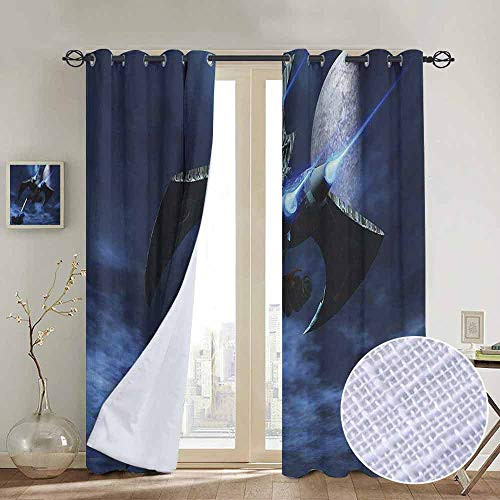 NUOMANAN backout Curtains for Bedroom Galaxy,Spaceship Blasts a Laser Beam an Enemy Battleship Galaxy Wars Outer Space Pattern,Blue Black,Pocket Thermal Insulated Tie Up Curtain 54