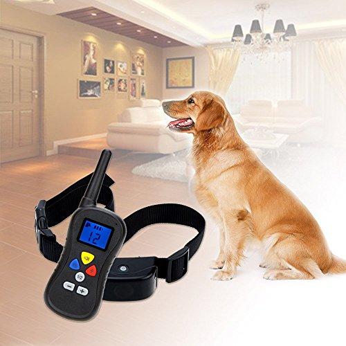 ONTOPONAdjustable Pet Trainer Remote Control Dog Training Vibrating Bark Control Collar with LCD Professional Animal Training Tool
