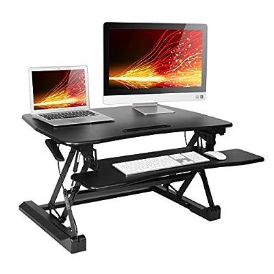 "Height Adjustable Standing Desk Converter Sit to Stand Workstation Desk Riser 36"" Dual Monitor Compact Desktop Computer Laptop Work Table Black"