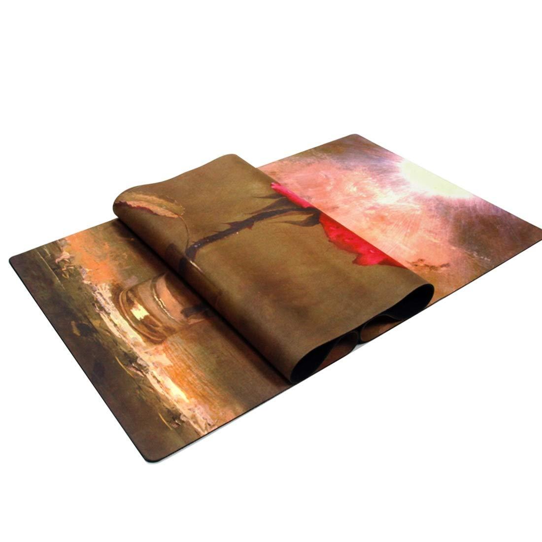 AROTOVL Yogamatte Gummi Umweltfreundliche köstliche Fitnessmatte Yogamatte 0,35 mm mit Tragegurt (Größe   183cm)