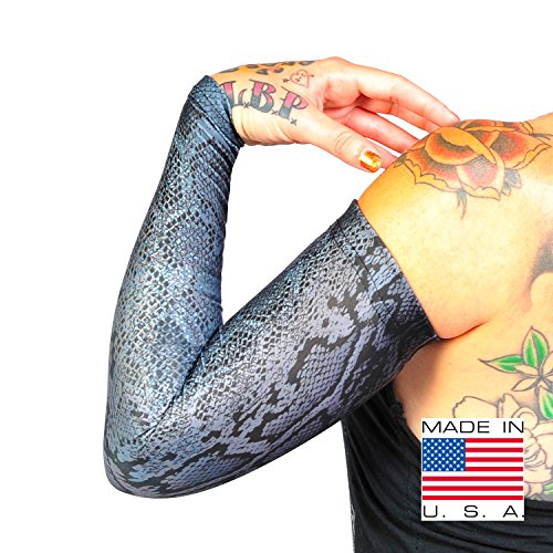 Tat2X Ink Armor Premium Full Arm Tattoo Cover Up Sleeve - No Slip Gripper - U.S. Made - Snake Grey - -