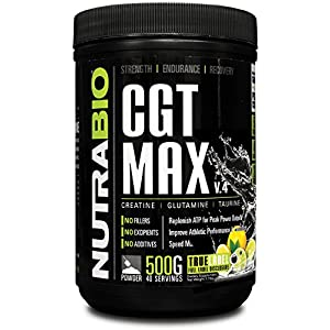 NutraBio CGT MAX (Lemon Lime) Creatine, Glutamine, and Taurine Powder