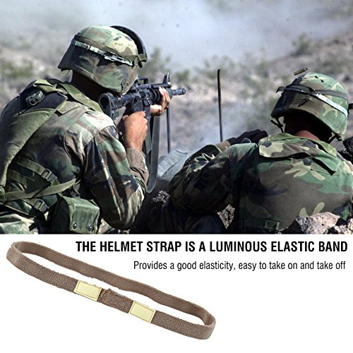 2pcs Tactical Helmet Strap Reflective Helmet Band Cat Eyes Camo Strap Helmets Band For M1 M88 MICH Military Helmet(Khaki )