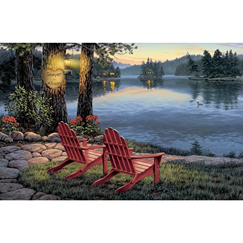 Custom Lakeside Art Print with Couples Names Carved Into the Heart in the Tree and a Pair of Adirondack Chairs Overlooking the Water - Personalized Lovers Name Print - Sawyer's Mill Inc