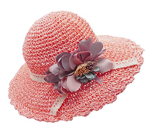(Bienvenu Kids Girl Summer Straw Hat with Flowers Beach Sun Protection Hats,Style2_Pink)