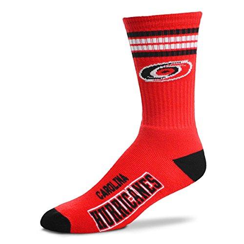 For Bare Feet Men's NHL 4 Stripe Deuce Crew Socks (Carolina Hurricanes, Medium (5-10)) ()