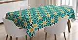 Ambesonne Arabian Decor Tablecloth, Arabic Oriental Geometric Shapes Lines with Pastel Middle East Artisitc Persian, Dining Room Kitchen Rectangular Table Cover, 60 X 84 inches, Teal Yellow Brown