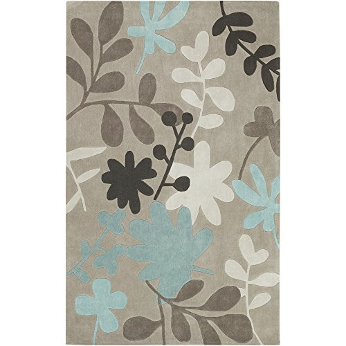 Surya Cosmopolitan COS-8924 Contemporary Hand Tufted 100% Polyester Doe Skin 5' x 8' Floral Area Rug