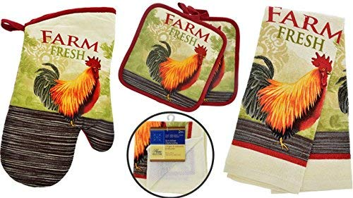 Rooster Kitchen Decor - Towel Linen Set (6 Pc) Farm Fresh Red Rooster Theme - Kitchen Towel 2 Potholders 2 Scrubber Dishcloths 1 Oven Mitt - Oven Mitts - Kitchen Decor]()