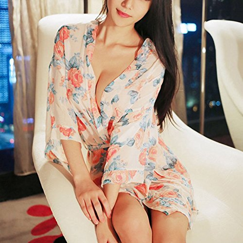 Spring Gift couples summer, autumn and winter girls romantic floral chiffon stamp comfortable bathrobes with bathrobe homewear pajamas-YU&XIN