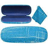 Denim Hard Shell Eyeglass Case Holder For Glasses And Sunglasses Unisex With Matching Microfiber Cloth