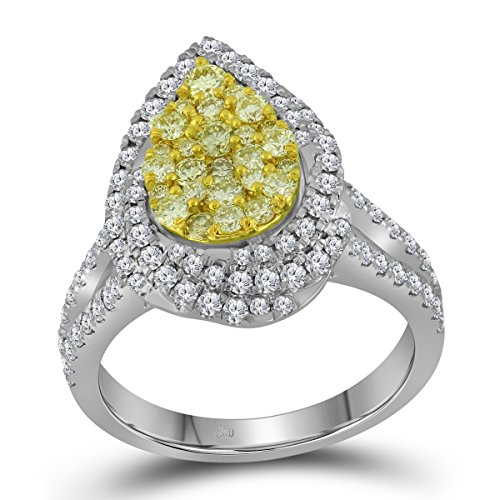 Jewels By Lux 14kt White Gold Womens Round Canary Yellow Diamond Teardrop Cluster Bridal Wedding Engagement Ring 1-1/4 Cttw Canary Diamond Wedding Rings