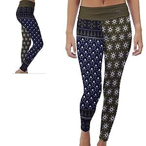 John Carroll University Blue Streaks Womens Yoga Pants Christmas Party Design (Large)