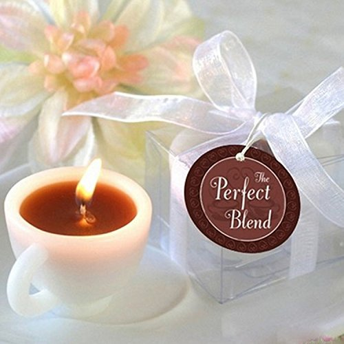 Coffee Cup Candle Tealight Votive Holder Romantic Decoration Elegant Accent On The Gleaming White Porcelain.