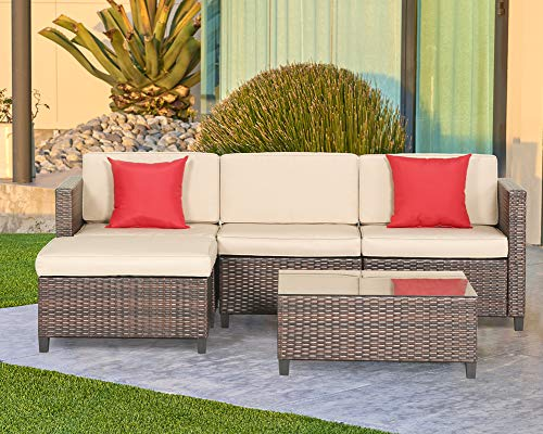 Outroad 5 Piece Wicker Sectional Sofa Set – All Weather Brown Striped Wicker Patio Furniture W/Beige Zippered Cushions & Glass Top Coffee Table | Incl. Waterproof Cover & Necessary Tools For Sale