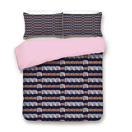 (Pink Duvet Cover Set/King Size/Abstract Authentic Motif with Horizontal Folk Bands Vintage Culture Design/Decorative 3 Piece Bedding Set with 2 Pillow Sham/Best Gift For Girls Women/Indigo Ginger Whit)