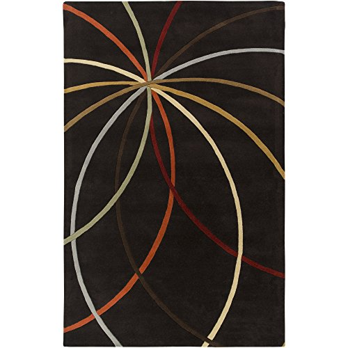 Surya Forum FM-7141 Contemporary Hand Tufted 100% Wool Espresso 2' x 3' Abstract Accent Rug