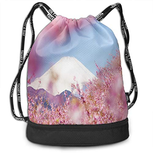 Sport Unisex Bundle Drawstring Backpack Japanese Beautiful Cherry Blossom Picture Travel Durable Large Space Gym Sack Stylish Waterproof Multifunction School Backpack
