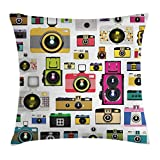Ambesonne Vintage Throw Pillow Cushion Cover, Vintage Old Fashioned Photo Cameras Artful Hobby Studio Graphic Decorative Design Art, Decorative Square Accent Pillow Case, 18 X18 Inches, Multi