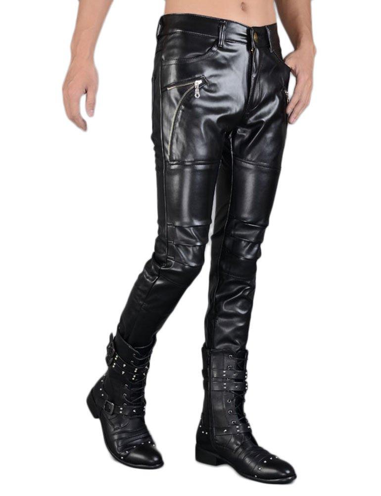 Idopy Men`s Rock Punk Hip Hop Faux Leather Motocycle Pants (30W x 40L, 149# Black) by Idopy (Image #3)