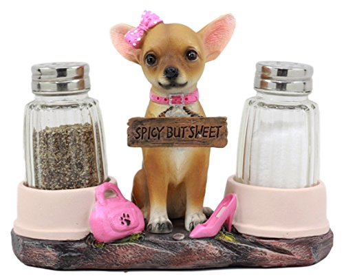 Ebros Gift Hot & Spicy Glamour Pink Girl Chihuahua Dog Glass Salt Pepper Shakers Holder Figurine Teacup Female Chihuahua -