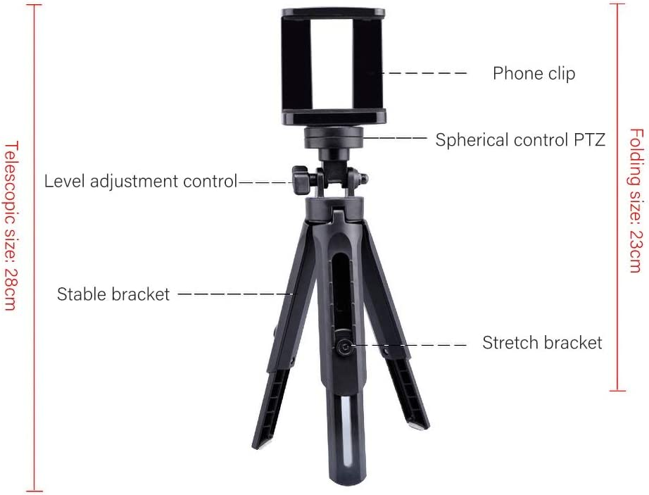 heaven2017 360 Degree Rotating Phone Tripod for Cellphone Under 5.5 Inch