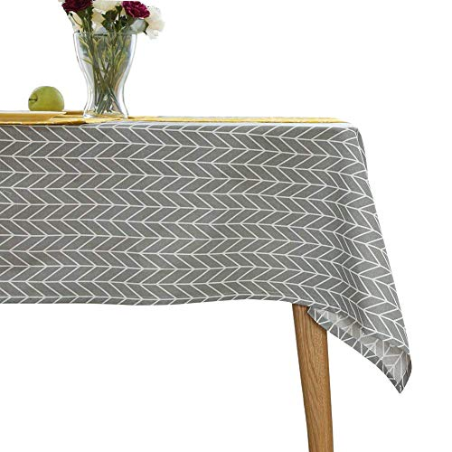 ColorBird Geometric Series Tablecloth Arrow Pattern Cotton Linen Dust-Proof Table Cover for Kitchen Dinning Tabletop Linen Decor (Square, 55 x 55 Inch, Grey)