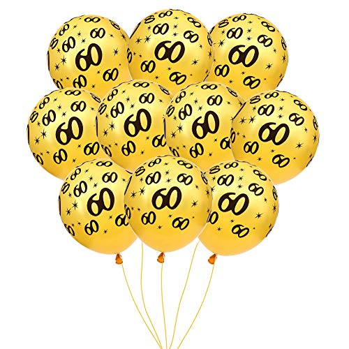MeySimon 60th Birthday Decorations Balloons Gold Printed 60 Latex Balloon for 60 Year Old Theme Happy Birthday Party Supplies (60th Gold)]()