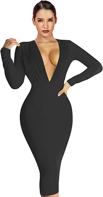 Plunge V Neck Black Bodycon Midi Party Dress
