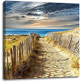 Beach Canvas Wall Art for Bathroom Gold Sand Beach Wall Decoration Seascape Themed Modern Canvas Print Picture Framed Artwork Ready to Hang for Home Kitchen Bedroom Living Room Wall Decor Size 14x14