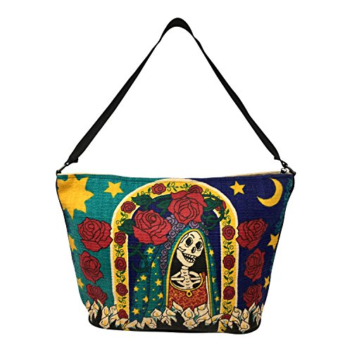 SpiritStar Sugar Skull Purse: Day of the Dead Inspired Daily Travel Bag Made with 100% Cotton (Santa Muerte) ()
