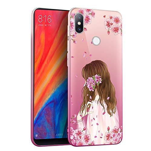 Price comparison product image Stysen Case for Xiaomi Mi Mix 2S,Gradient Cover for Xiaomi Mi Mix 2S,Creative Gradual Color Flower Fairy Design Clear Protective Cover for Xiaomi Mi Mix 2S-Flower Fairy