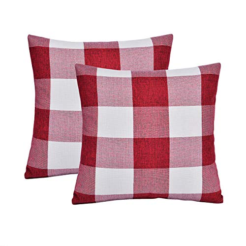 Checkered Pillow (Vonty Christmas Plaid Pillow Cover Buffalo Checkered Pillow Covers Farmhouse Decorative Cotton Linen Cushion Covers Set of 2, 18x18 Inches (Red & White Plaid, 18