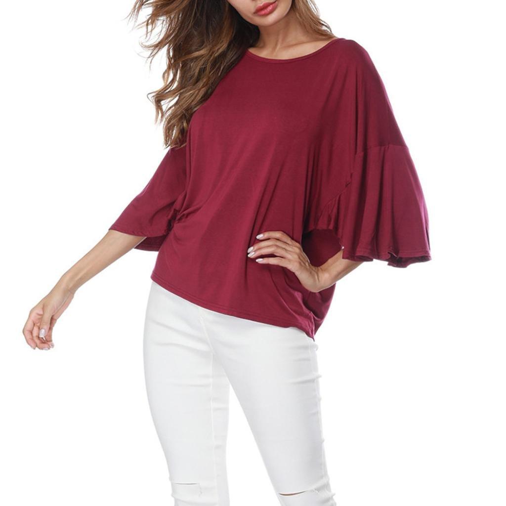 Creazrise Womens Ruffles Half Sleeve Scoop Neck Blouse Ladies Casual Loose Solid T-Shirt Tops (Black,XL) (Wine, S)