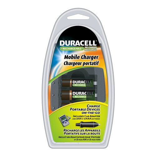 Duracell Mobile Charger with 2AA and 2AAA Pre Charged Rechargeable Nimh Batteries, CEF23DX4N Duracell Nickel Camera Battery