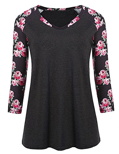 Women Baseball Tee Shirt Floral Tops 3/4 Raglan