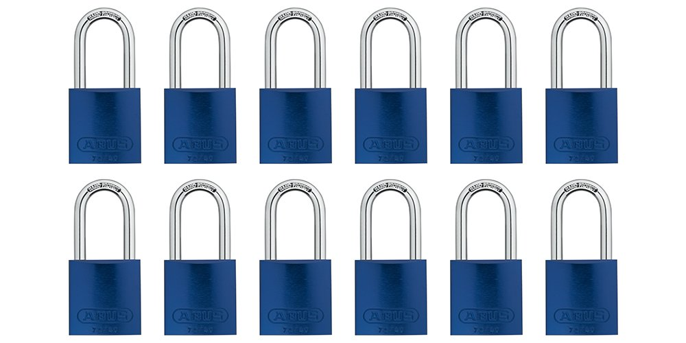 ABUS 72/40 Aluminum Safety Padlock Blue Keyed Alike - Long Shackle (1-1/2'') - 12 Pack