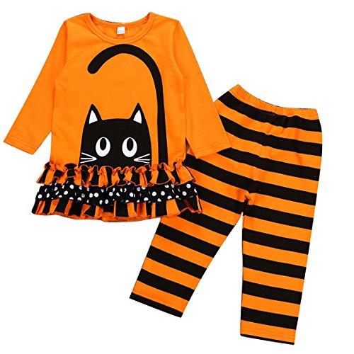(Borlai Baby Girl Halloween Cotton Set Wave Point Long Sleeve Top + Long Pants 2pcs (Orange,)