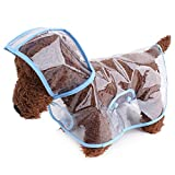 Image of Topsung Waterproof Puppy Raincoat Blue Transparent Pet Rainwear Clothes for Small Dogs/Cats, Size M