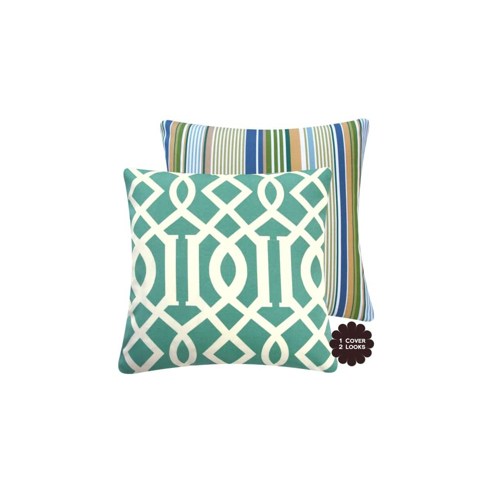 Chloe & Olive Roman Numeral Collection Reversible Geometric Lattice and Stripes 18 Square Outdoor Patio Decorative Pillow Cover (1 Pillow Cover)   Aqua Blue, Ivory, Off White, Cream