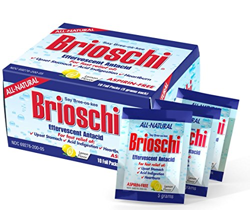 Brioschi Effervescent Antacid Single Serving – Travel Packets Aspirin Free All Natural Fast Relief For Upset Stomach, Acid Indigestion, Heartburn and Bloating, (10 Packets)
