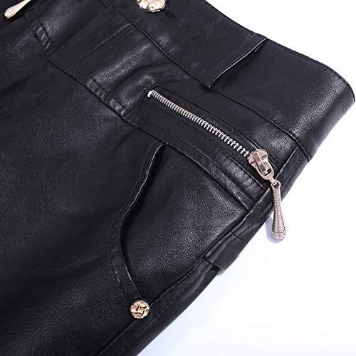 Jupe Club Taille Bodycon Noir Mini Cuir Grande FS7129 Crayon DISSA PU aqx57OT7