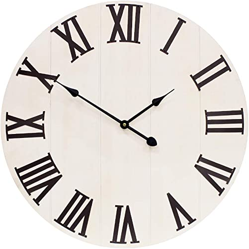 Growsun 36 inch Large Wall Clock Decor Solid Wood Metal Roman Numerals Decoration Clocks for Farmhouse Home Living Room