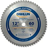 Oshlun SBF-120060 12-Inch 60 Tooth TCG Saw Blade with 1-Inch Arbor for Mild Steel and Ferrous Metals