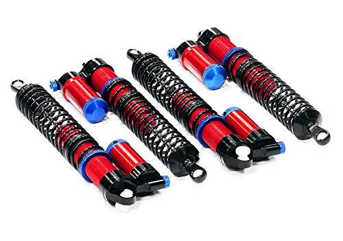 Integy RC Model Hop-ups T6723RED Rebound Adjustable Piggyback Shock (4) for HPI Savage X 4.6 2011, Flux & Savage XL