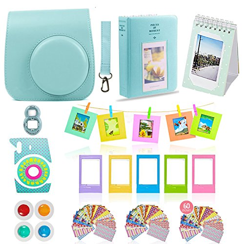 Fujifilm Instax Mini 9 Camera Accessories Bundle, ICE Blue 11 PC Fuji Kit Includes: Mini Case + Strap, 2 Albums, 4 Color Filters, Selfie Lens, Hanging + Creative Frames, Stickers, Gift Set