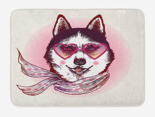 Weeosazg Cartoon Bath Mat, Hipster Husky Dog with Hearts Sunglasses and Scarf Fashion Animal Art Print, Plush Bathroom Decor Mat with Non Slip Backing, 31.5 X 19.7 Inches, Pink Cream Black