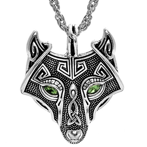 - W WOOGGE Norse Vikings Vintage Pendant Men's Necklace Green Red Eye Wolf Head Animal Jewelry for Women