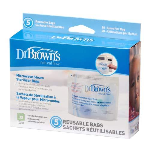 Dr Browns Natural Flujo Microondas Vapor Esterilizador Bolsas X 5